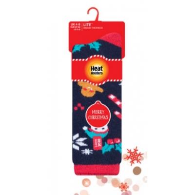 Šiltos plonesnės kojinės moterims, HEAT HOLDERS LITE, kalėdinės