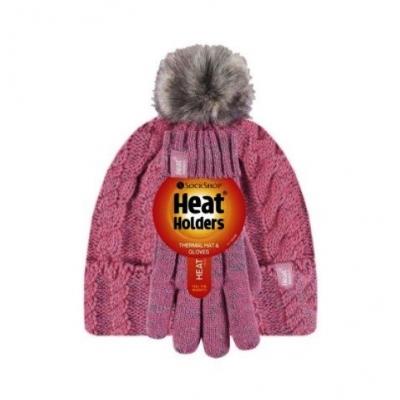 Žieminė kepurė ir pirštuotos pirštinės mergaitėms HEAT HOLDERS, koralas