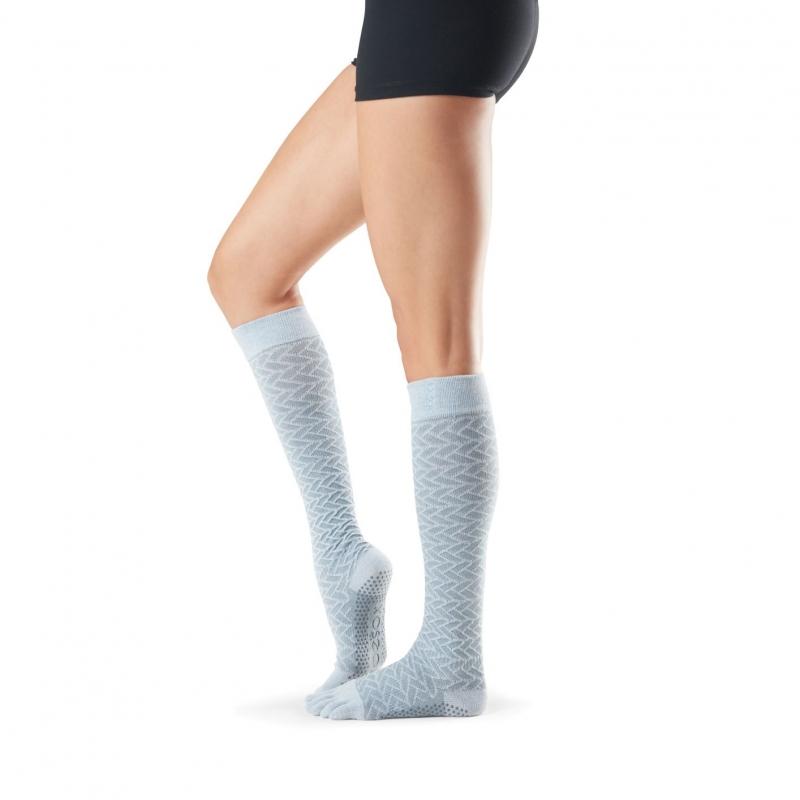 TOESOX Scrunch knee pirštuotos neslystančios ilgos kojinės, šaltis