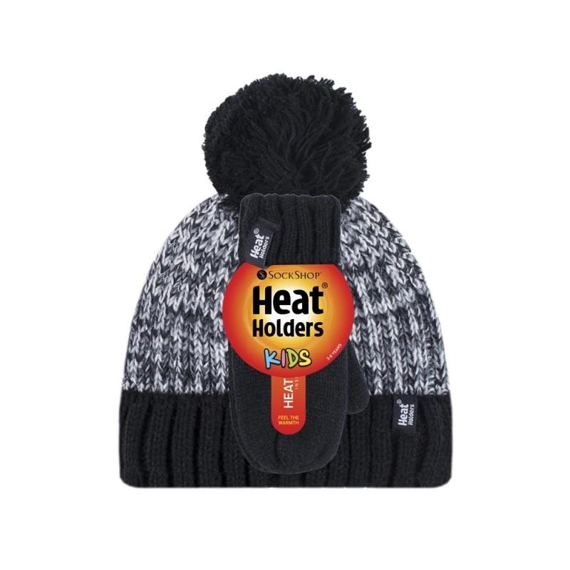 Vaikiška žieminė kepurė ir kumštinės pirštinės, juodos