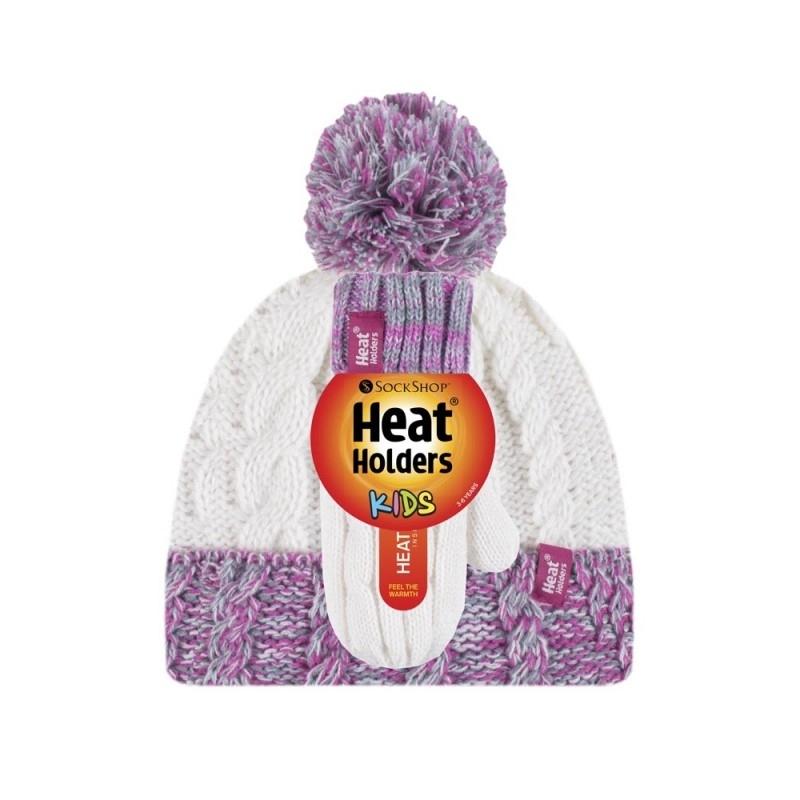 Žieminė kepurė ir kumštinės pirštinės mergaitėms HEAT HOLDERS, kreminės